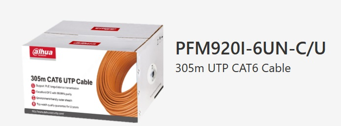 BOBINE 305 METRES CABLE CATEGORIE 6 DAHUA REF PFM920I-6UN SPECIAL POUR CAMERA IP
